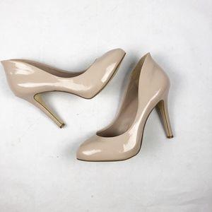 BCBG Cream Patent Leather Heels - Size 9.5